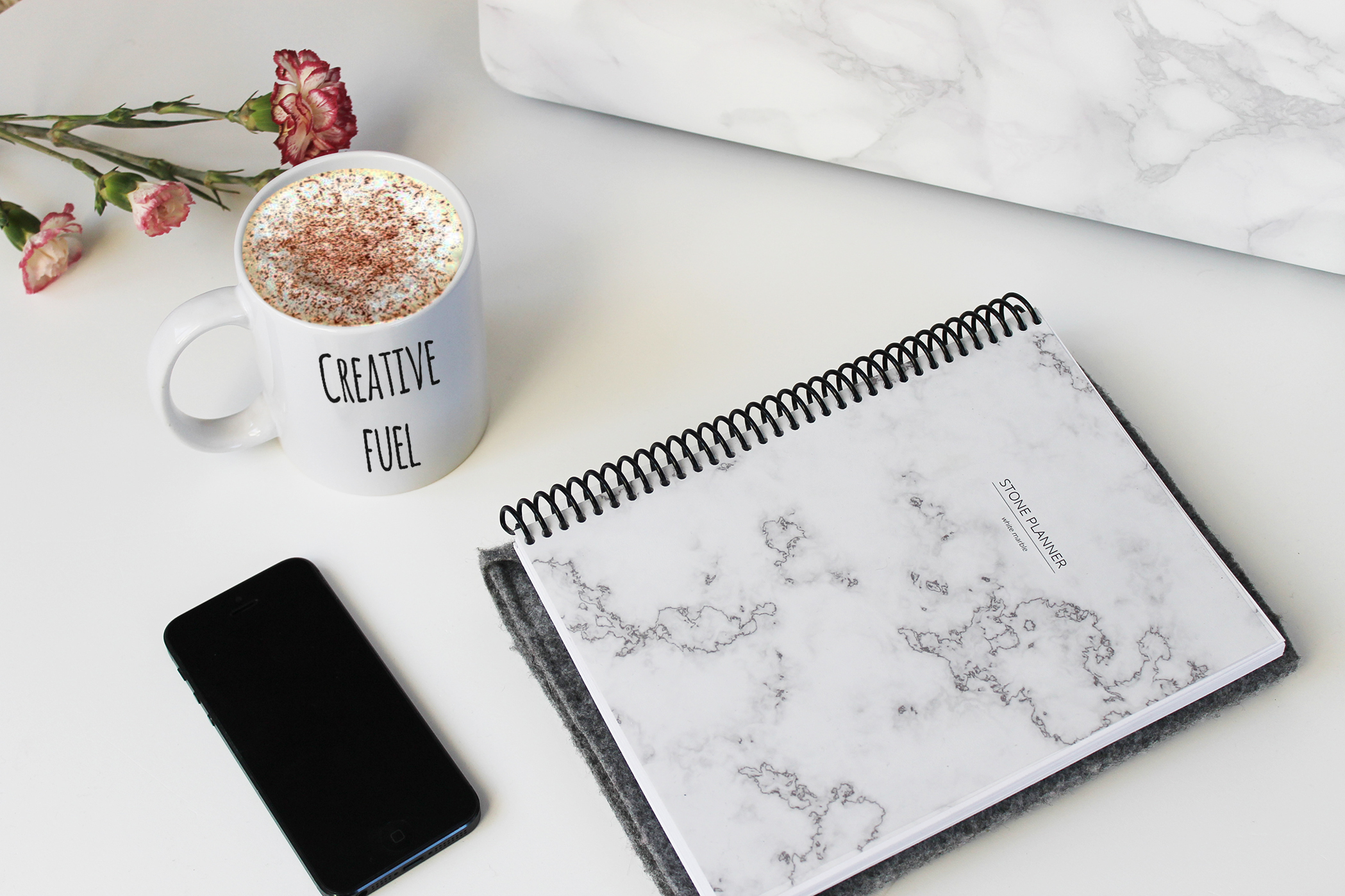 stone planner white marble